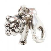 Bulldog 3D Sterling Silver Clip On Charm - With Clasp